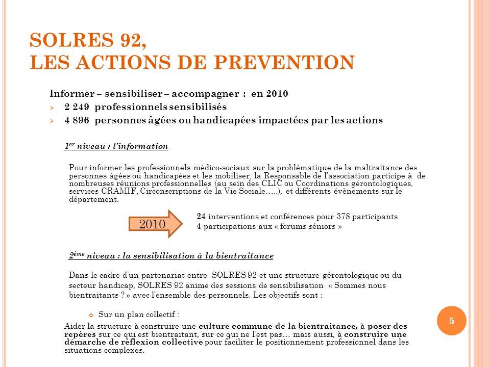 SOLRES 92, LES ACTIONS DE PREVENTION Informer – sensibiliser – accompagner : en 2010 2 249 professionnels sensibilisés 4 896 personnes âgées ou handic