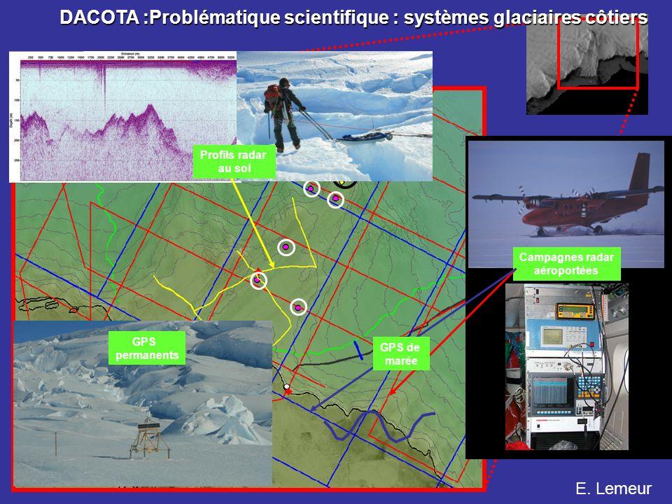 Campagnes radar aéroportées GPS de marée GPS permanents Profils radar au sol E. Lemeur DACOTA :Problématique scientifique : systèmes glaciaires côtier