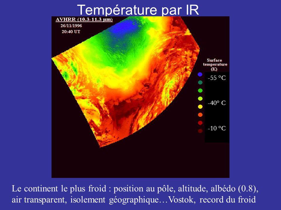 Température par IR Le continent le plus froid : position au pôle, altitude, albédo (0.8), air transparent, isolement géographique…Vostok, record du froid -55 °C -40° C -10 °C