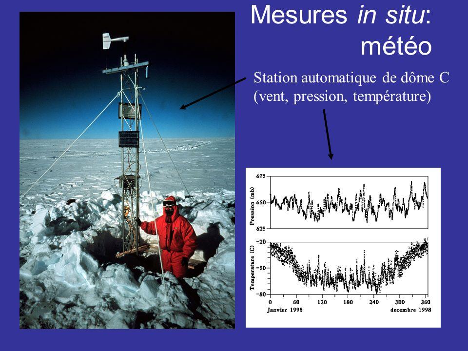 Mesures in situ: météo Station automatique de dôme C (vent, pression, température)