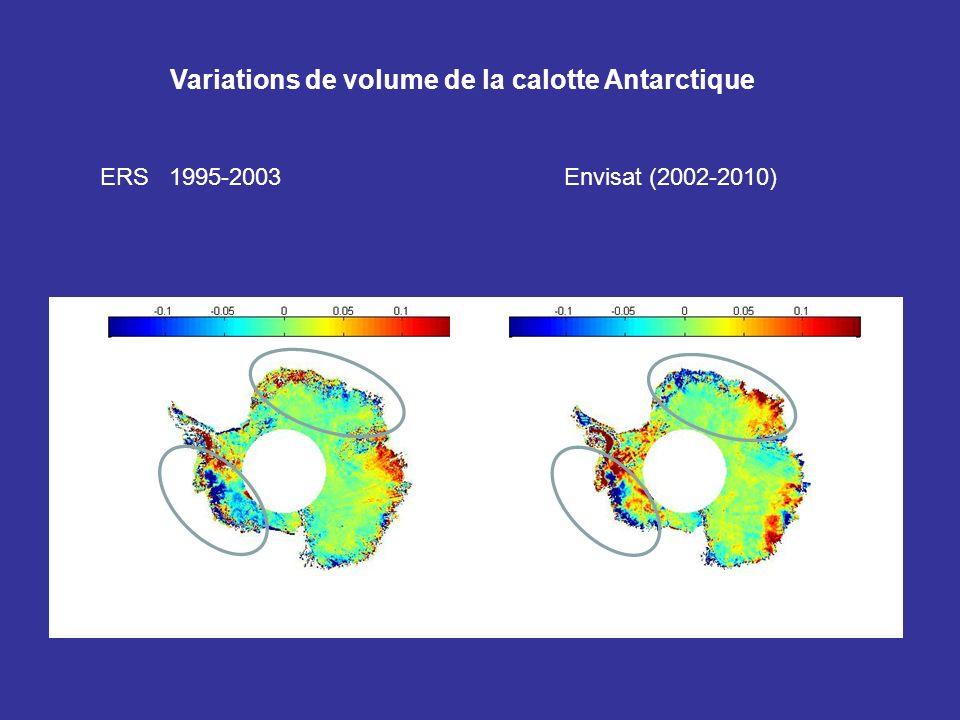 Variations de volume de la calotte Antarctique ERS 1995-2003 Envisat (2002-2010)