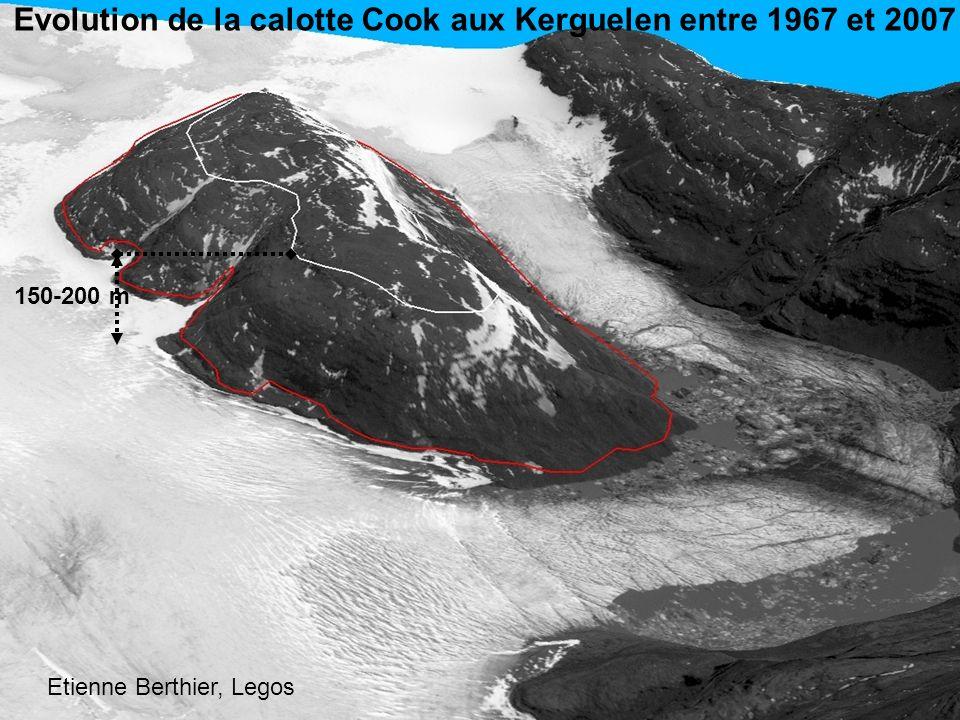 150-200 m Evolution de la calotte Cook aux Kerguelen entre 1967 et 2007 Etienne Berthier, Legos