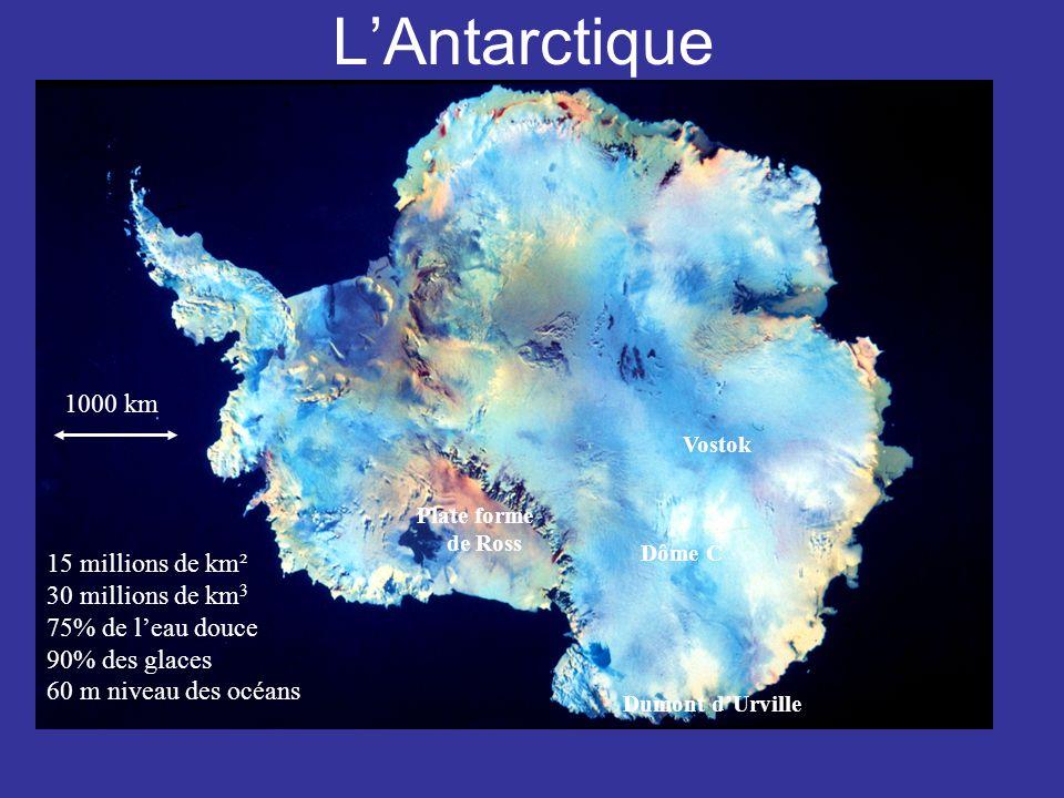 LAntarctique 1000 km 15 millions de km² 30 millions de km 3 75% de leau douce 90% des glaces 60 m niveau des océans Dôme C Vostok Plate forme de Ross Dumont dUrville