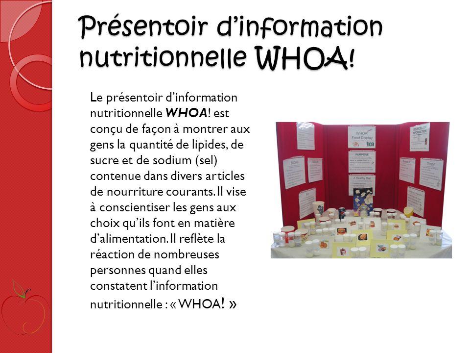Présentoir dinformation nutritionnelle WHOA. Présentoir dinformation nutritionnelle WHOA.