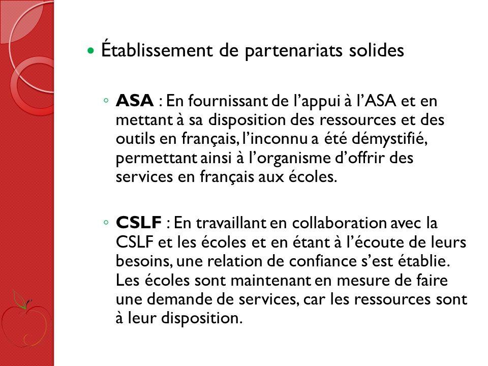 Établissement de partenariats solides ASA : En fournissant de lappui à lASA et en mettant à sa disposition des ressources et des outils en français, linconnu a été démystifié, permettant ainsi à lorganisme doffrir des services en français aux écoles.