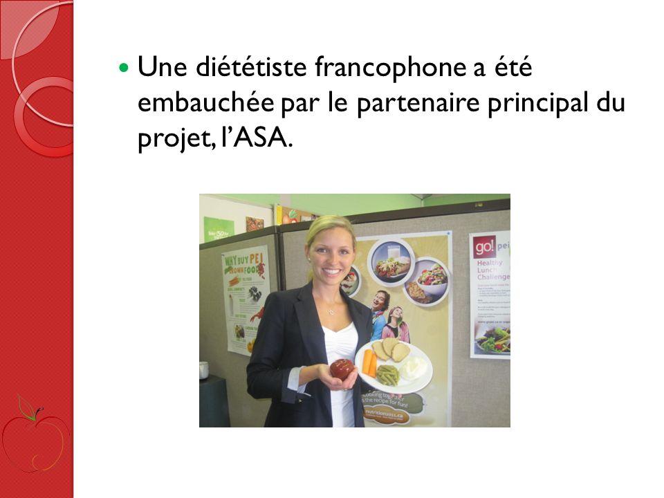 Une diététiste francophone a été embauchée par le partenaire principal du projet, lASA.