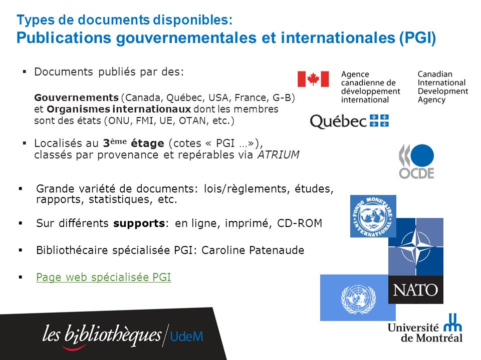 Types de documents disponibles: Publications gouvernementales et internationales (PGI) Documents publiés par des: Gouvernements (Canada, Québec, USA,