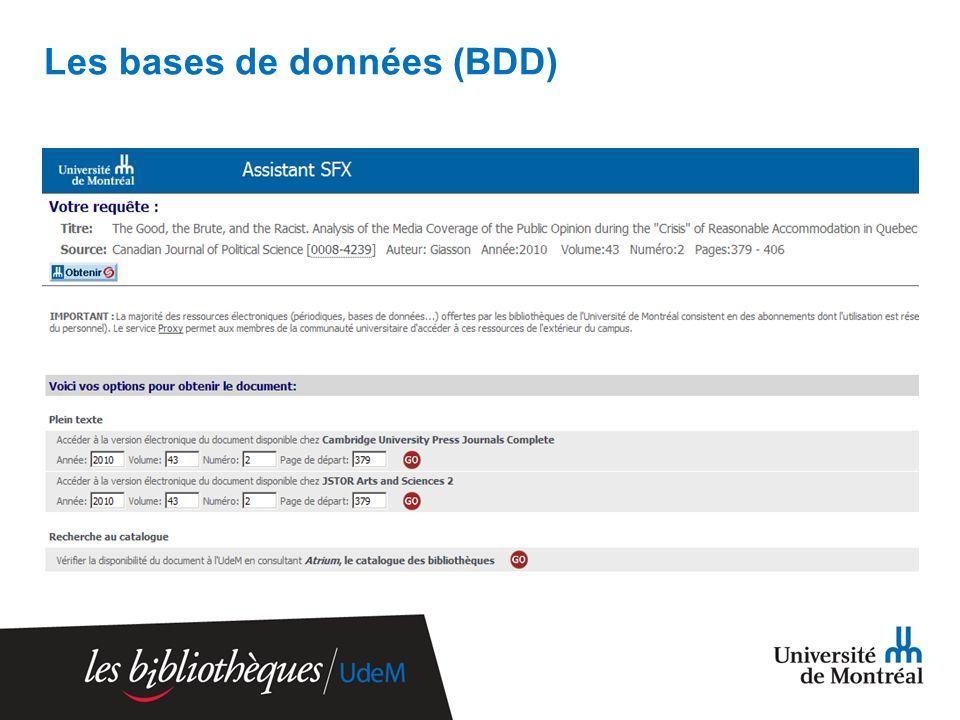 Les bases de données (BDD)