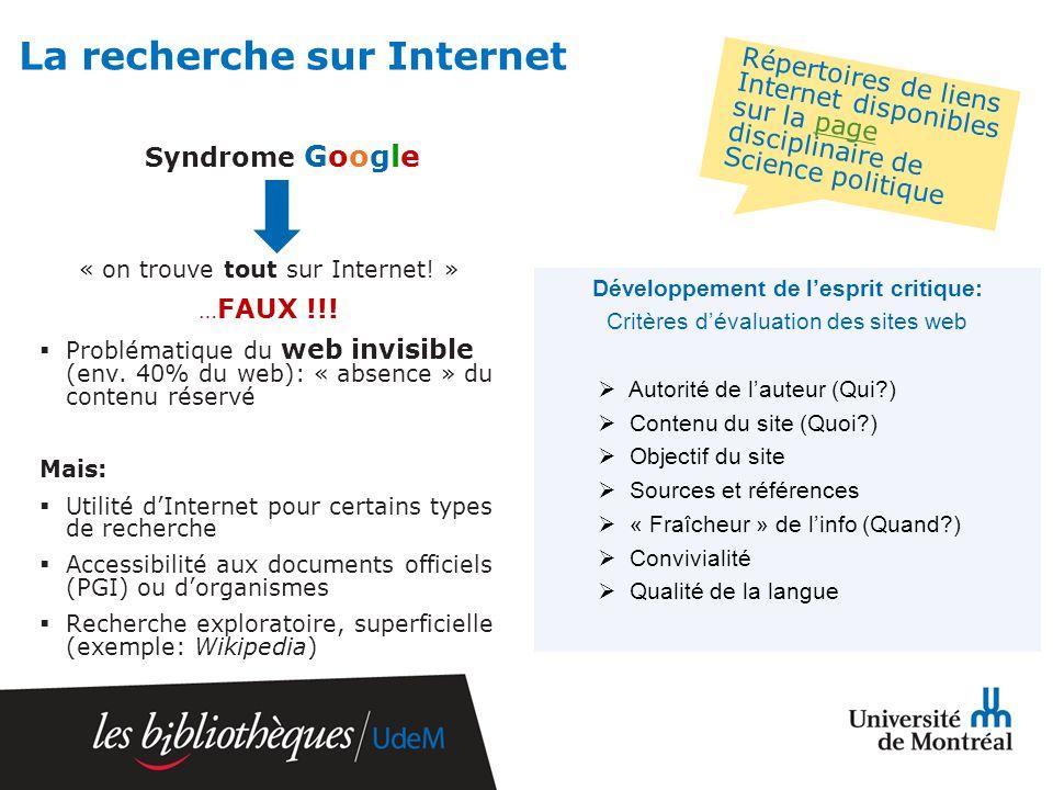 La recherche sur Internet Syndrome Google « on trouve tout sur Internet.