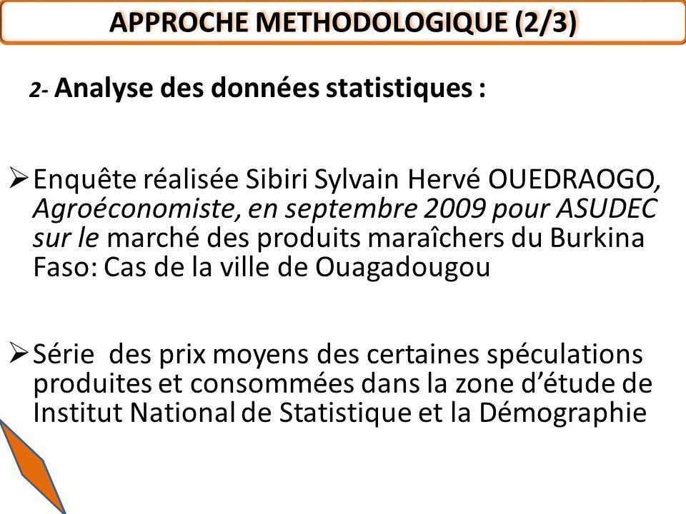 2- Analyse des données statistiques : Enquête réalisée Sibiri Sylvain Hervé OUEDRAOGO, Agroéconomiste, en septembre 2009 pour ASUDEC sur le marché des