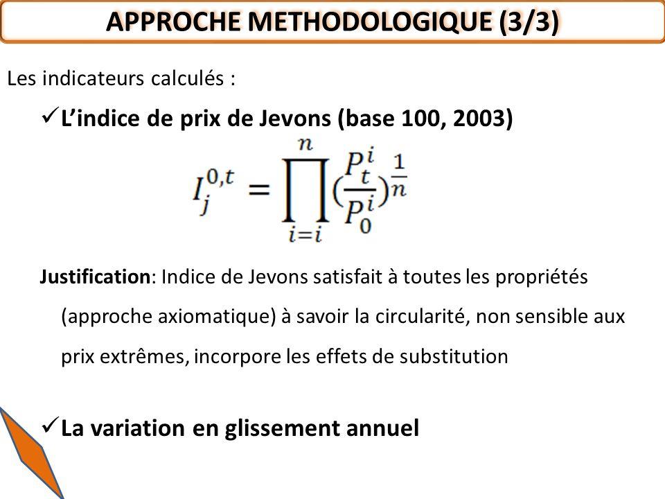 Les indicateurs calculés : Lindice de prix de Jevons (base 100, 2003) Justification: Indice de Jevons satisfait à toutes les propriétés (approche axio