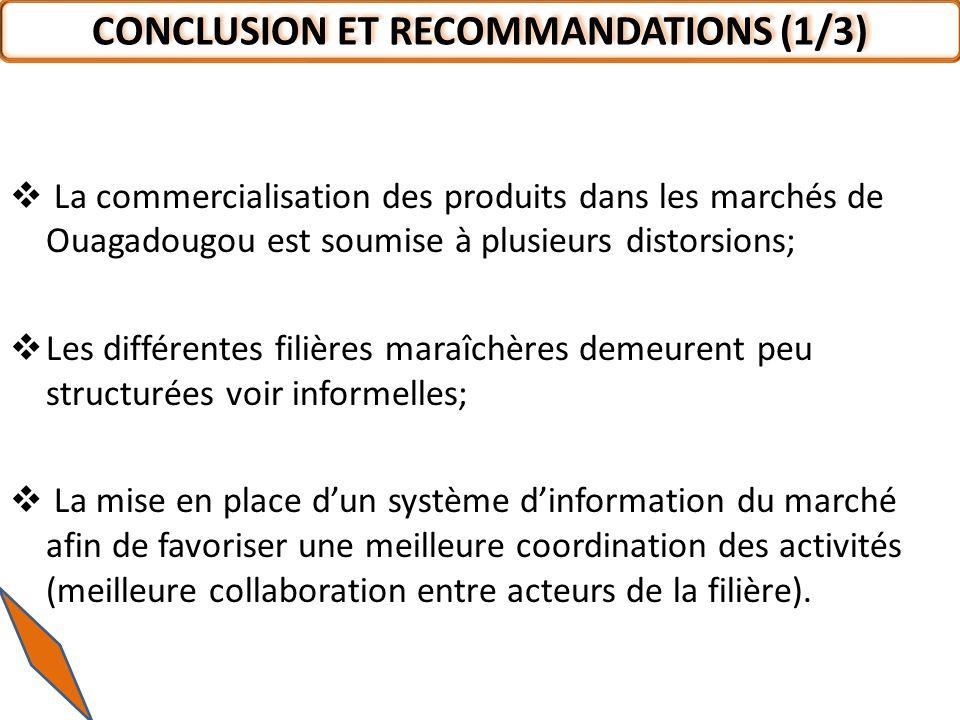 La commercialisation des produits dans les marchés de Ouagadougou est soumise à plusieurs distorsions; Les différentes filières maraîchères demeurent