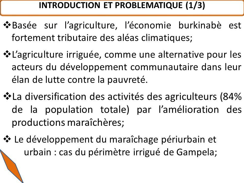 INTRODUCTION ET PROBLEMATIQUE (1/3) Basée sur lagriculture, léconomie burkinabè est fortement tributaire des aléas climatiques; Lagriculture irriguée, comme une alternative pour les acteurs du développement communautaire dans leur élan de lutte contre la pauvreté.