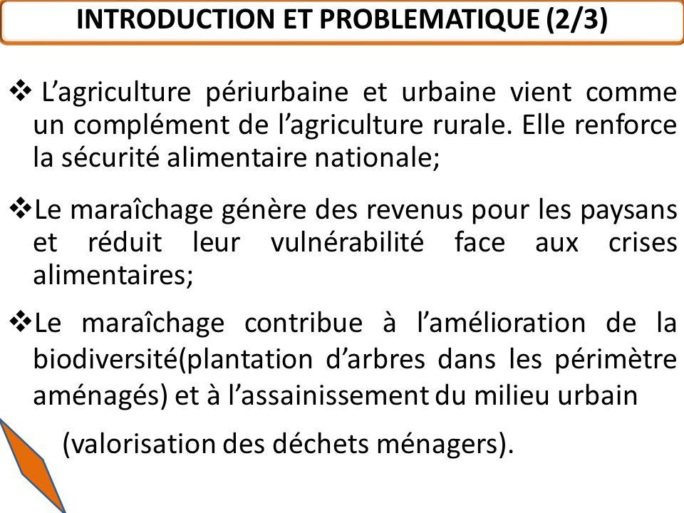 Face à lenjeu économique des différentes filières maraîchères au Burkina Faso en général et à Ouagadougou en particulier, il est important et impératif de rassembler des informations actualisées du système de commercialisation des produits maraîchers INTRODUCTION ET PROBLEMATIQUE (3/3)