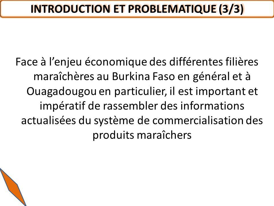 Face à lenjeu économique des différentes filières maraîchères au Burkina Faso en général et à Ouagadougou en particulier, il est important et impérati
