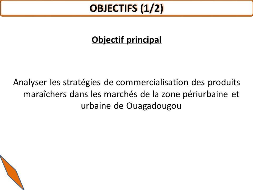 Objectif principal Analyser les stratégies de commercialisation des produits maraîchers dans les marchés de la zone périurbaine et urbaine de Ouagadougou OBJECTIFS (1/2)