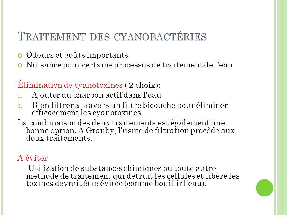 T RAITEMENT DES CYANOBACTÉRIES Odeurs et goûts importants Nuisance pour certains processus de traitement de l'eau Élimination de cyanotoxines ( 2 choi