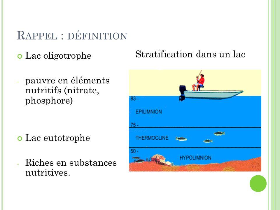 R APPEL : DÉFINITION Lac oligotrophe - pauvre en éléments nutritifs (nitrate, phosphore) Lac eutotrophe - Riches en substances nutritives. Stratificat