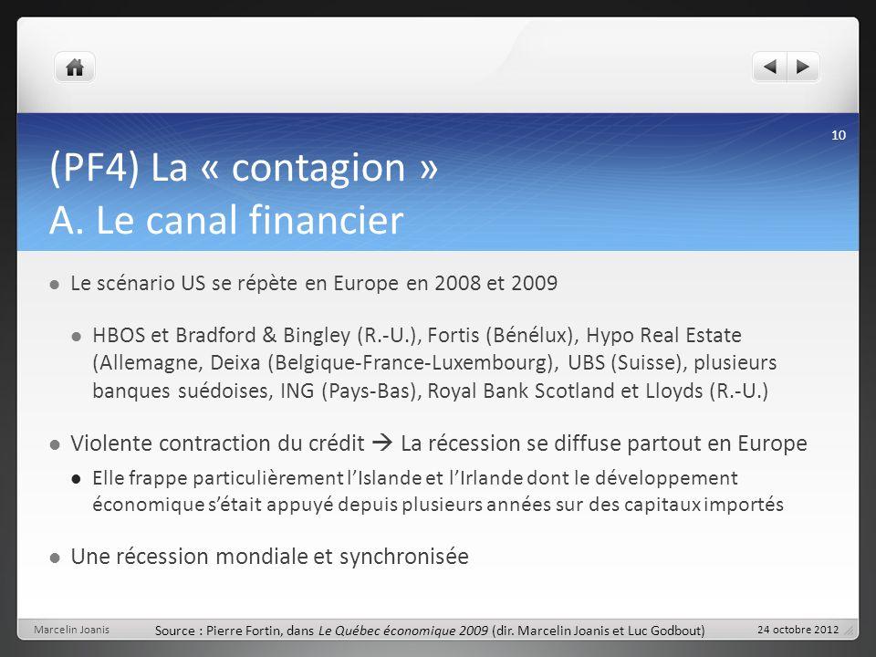 (PF4) La « contagion » A. Le canal financier Le scénario US se répète en Europe en 2008 et 2009 HBOS et Bradford & Bingley (R.-U.), Fortis (Bénélux),