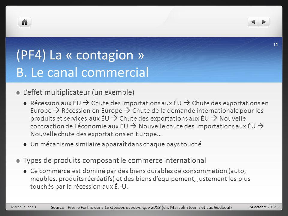 (PF4) La « contagion » B. Le canal commercial Leffet multiplicateur (un exemple) Récession aux ÉU Chute des importations aux ÉU Chute des exportations