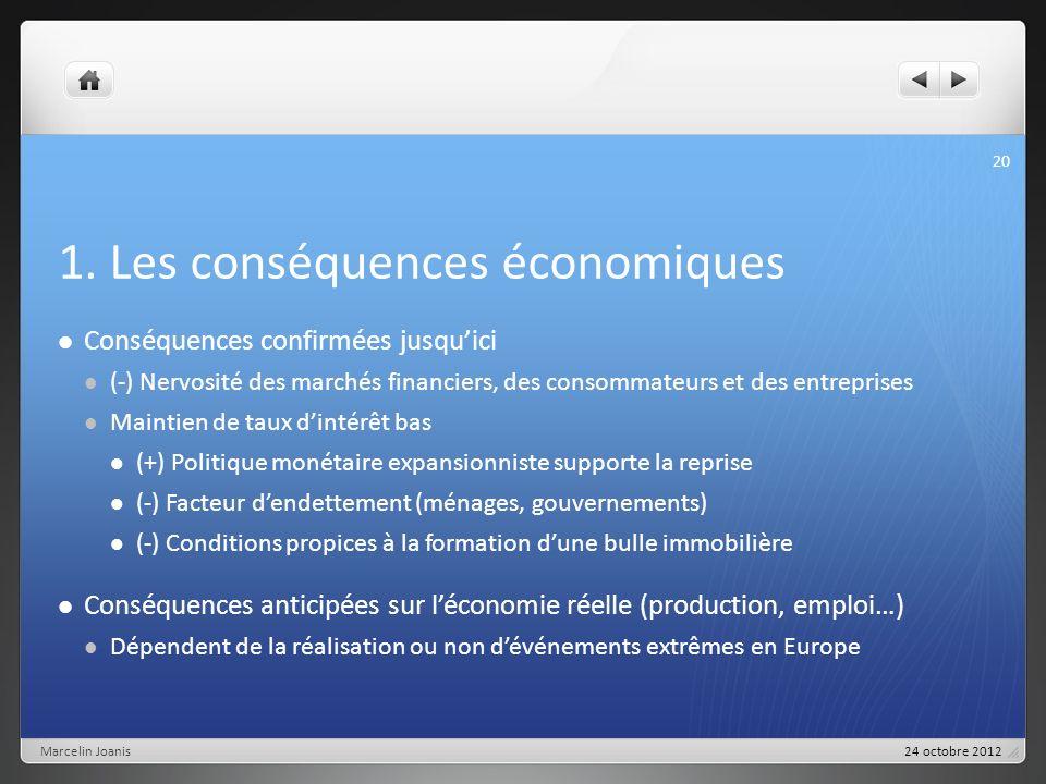 1. Les conséquences économiques Conséquences confirmées jusquici (-) Nervosité des marchés financiers, des consommateurs et des entreprises Maintien d
