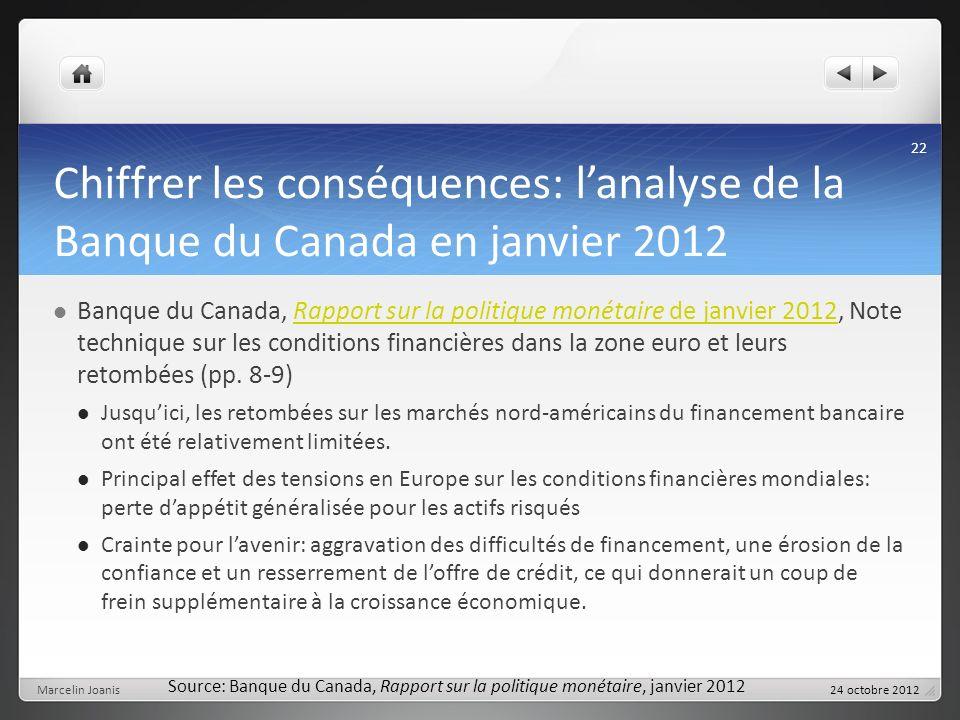 Chiffrer les conséquences: lanalyse de la Banque du Canada en janvier 2012 Banque du Canada, Rapport sur la politique monétaire de janvier 2012, Note technique sur les conditions financières dans la zone euro et leurs retombées (pp.