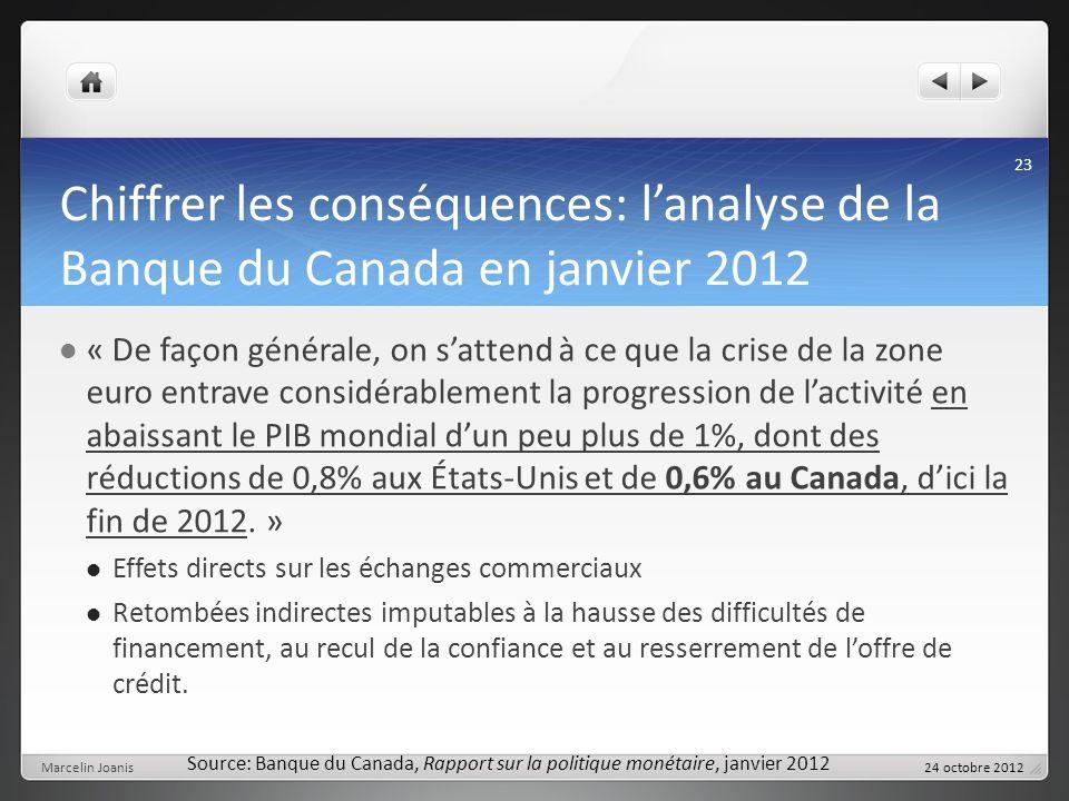 Chiffrer les conséquences: lanalyse de la Banque du Canada en janvier 2012 « De façon générale, on sattend à ce que la crise de la zone euro entrave considérablement la progression de lactivité en abaissant le PIB mondial dun peu plus de 1%, dont des réductions de 0,8% aux États-Unis et de 0,6% au Canada, dici la fin de 2012.