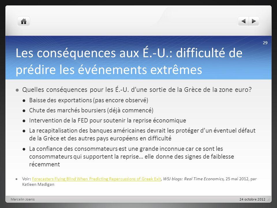 Les conséquences aux É.-U.: difficulté de prédire les événements extrêmes Quelles conséquences pour les É.-U. dune sortie de la Grèce de la zone euro?
