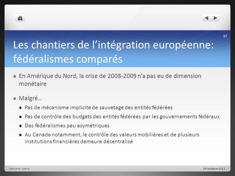 Les chantiers de lintégration européenne: fédéralismes comparés En Amérique du Nord, la crise de 2008-2009 na pas eu de dimension monétaire Malgré… Pa