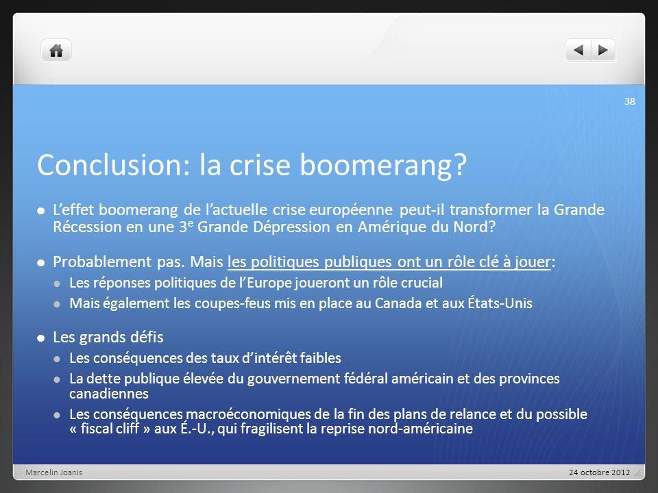 Conclusion: la crise boomerang? Leffet boomerang de lactuelle crise européenne peut-il transformer la Grande Récession en une 3 e Grande Dépression en