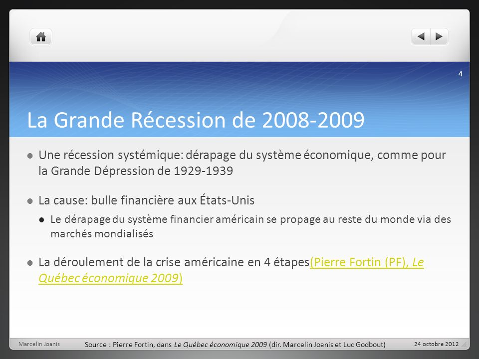 La Grande Récession de 2008-2009 Une récession systémique: dérapage du système économique, comme pour la Grande Dépression de 1929-1939 La cause: bull
