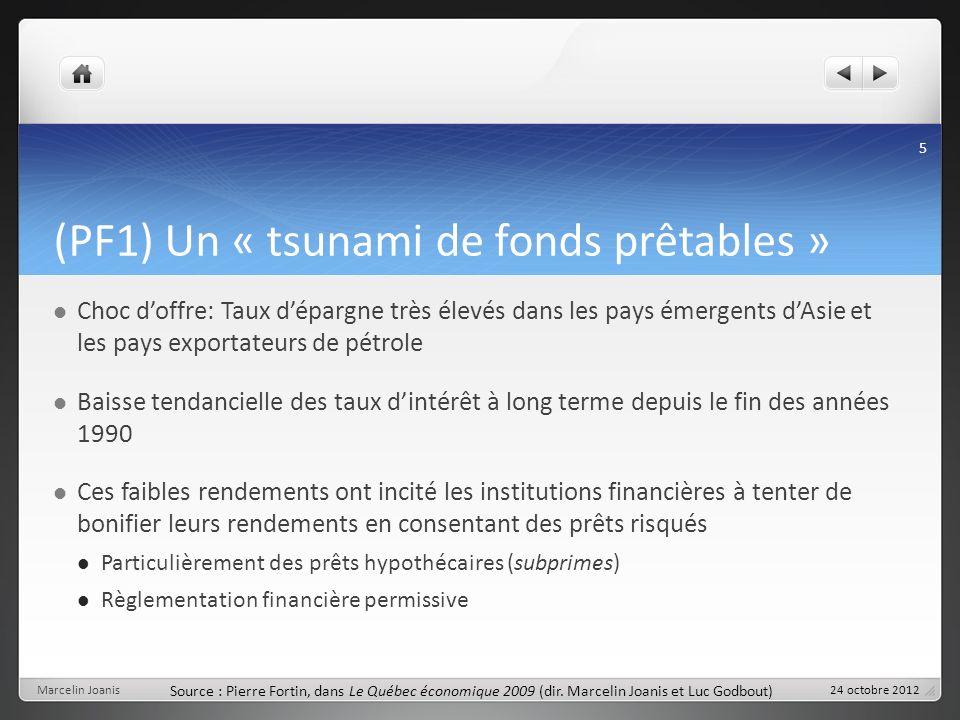 (PF1) Un « tsunami de fonds prêtables » Choc doffre: Taux dépargne très élevés dans les pays émergents dAsie et les pays exportateurs de pétrole Baiss