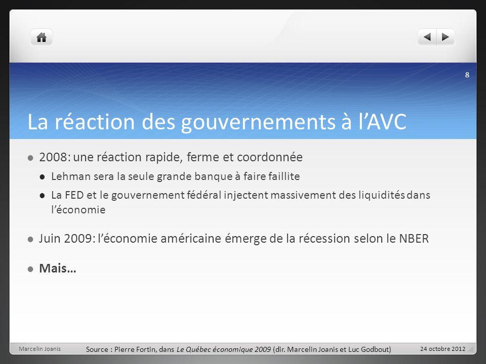 La réaction des gouvernements à lAVC 2008: une réaction rapide, ferme et coordonnée Lehman sera la seule grande banque à faire faillite La FED et le g