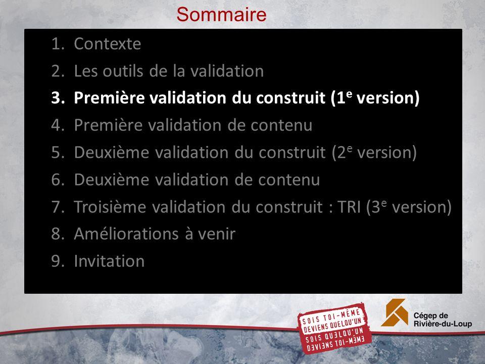 Sommaire 1.Contexte 2.Les outils de la validation 3.Première validation du construit (1 e version) 4.Première validation de contenu 5.Deuxième validation du construit (2 e version) 6.Deuxième validation de contenu 7.Troisième validation du construit : TRI (3 e version) 8.Améliorations à venir 9.Invitation
