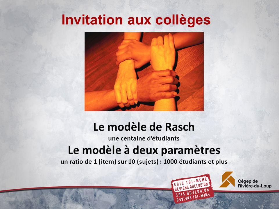 Invitation aux collèges Le modèle de Rasch une centaine détudiants Le modèle à deux paramètres un ratio de 1 (item) sur 10 (sujets) : 1000 étudiants et plus