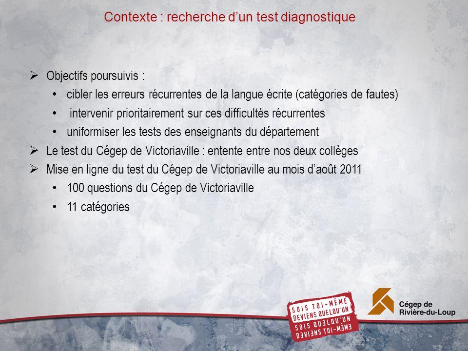 Contexte : recherche dun test diagnostique Objectifs poursuivis : cibler les erreurs récurrentes de la langue écrite (catégories de fautes) intervenir