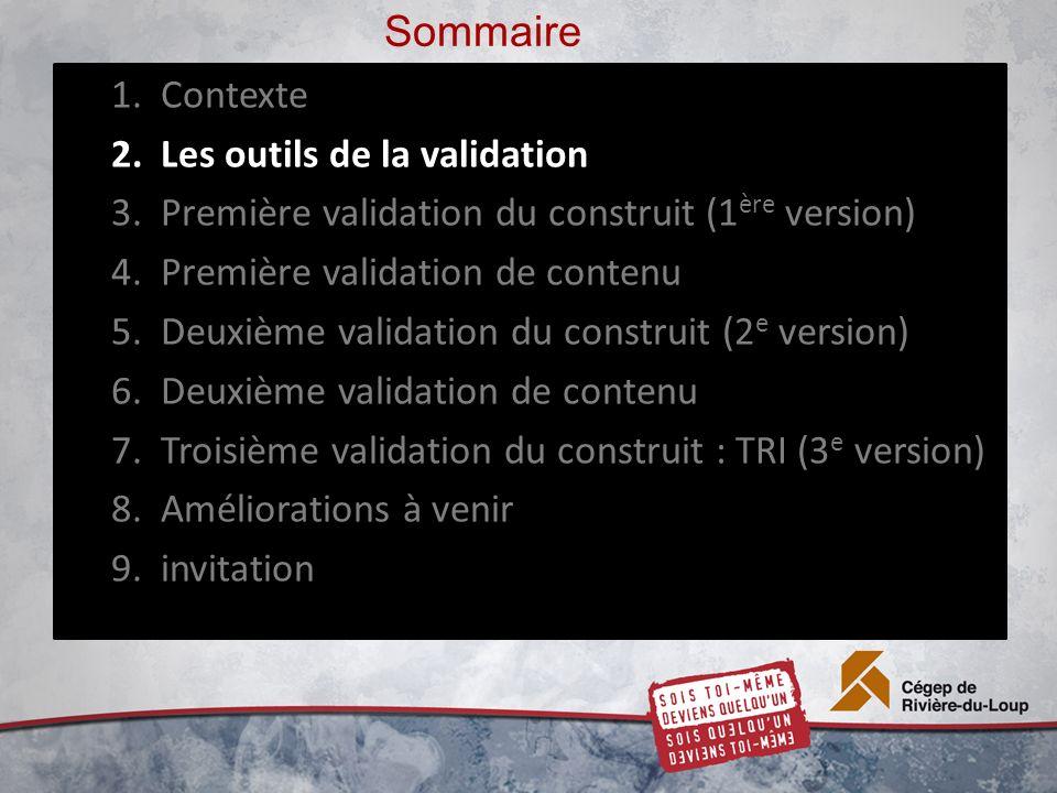 Sommaire 1.Contexte 2.Les outils de la validation 3.Première validation du construit (1 ère version) 4.Première validation de contenu 5.Deuxième validation du construit (2 e version) 6.Deuxième validation de contenu 7.Troisième validation du construit : TRI (3 e version) 8.Améliorations à venir 9.invitation