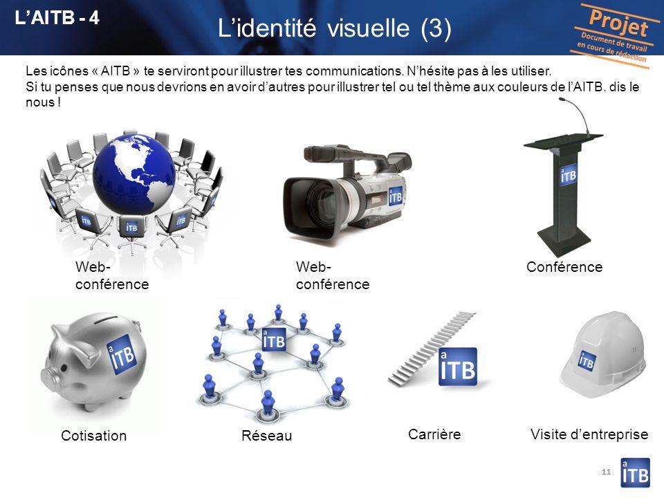 11 Lidentité visuelle (3) Les icônes « AITB » te serviront pour illustrer tes communications. Nhésite pas à les utiliser. Si tu penses que nous devrio