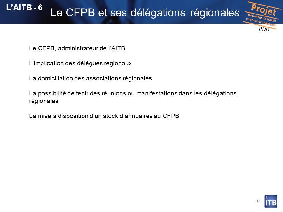 14 Le CFPB, administrateur de lAITB Limplication des délégués régionaux La domiciliation des associations régionales La possibilité de tenir des réuni