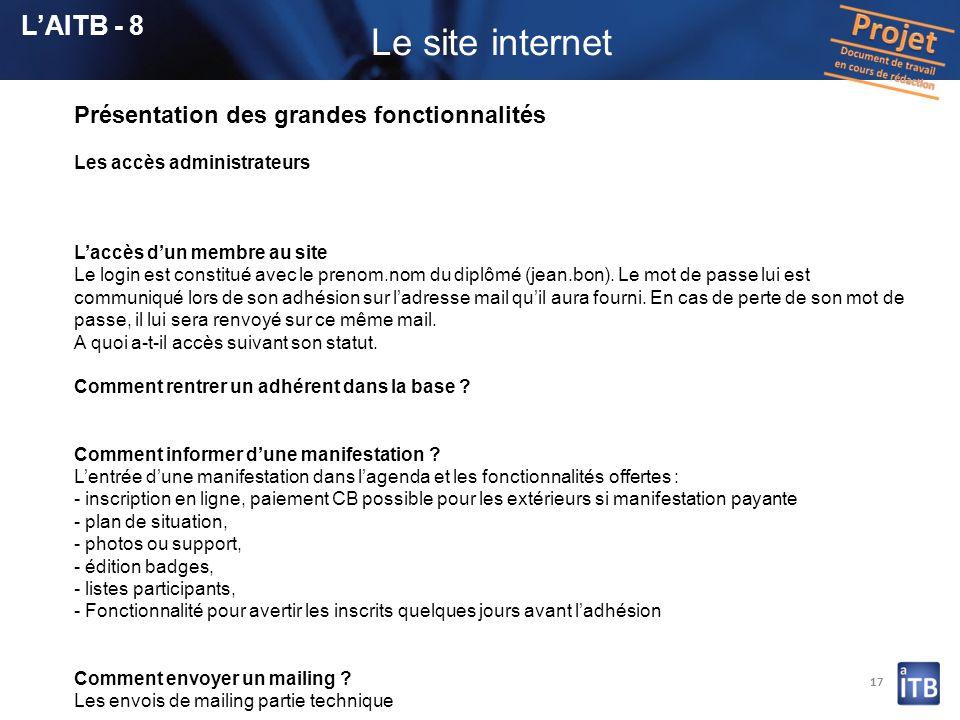 17 Présentation des grandes fonctionnalités Les accès administrateurs Laccès dun membre au site Le login est constitué avec le prenom.nom du diplômé (