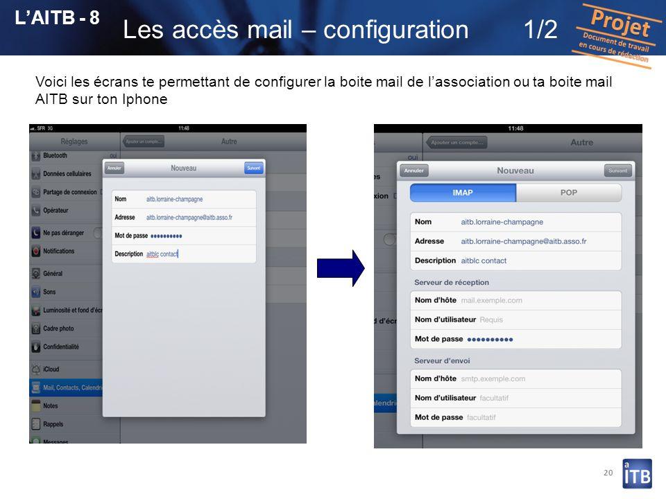 20 LAITB - 8 Les accès mail – configuration1/2 Voici les écrans te permettant de configurer la boite mail de lassociation ou ta boite mail AITB sur to