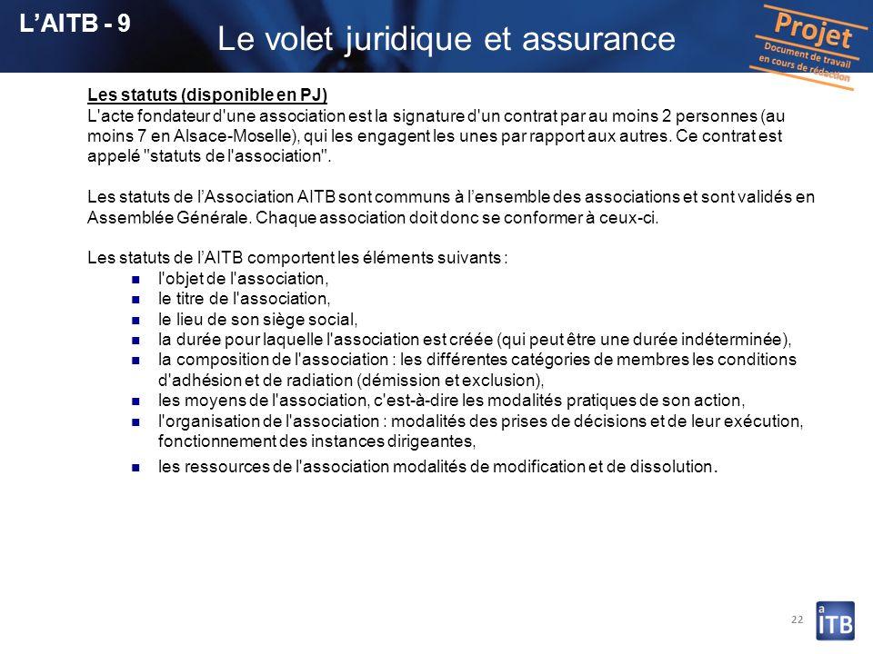 22 Les statuts (disponible en PJ) L'acte fondateur d'une association est la signature d'un contrat par au moins 2 personnes (au moins 7 en Alsace-Mose