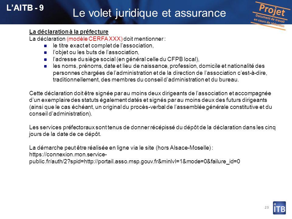 23 La déclaration à la préfecture La déclaration (modèle CERFA XXX) doit mentionner : le titre exact et complet de lassociation, lobjet ou les buts de