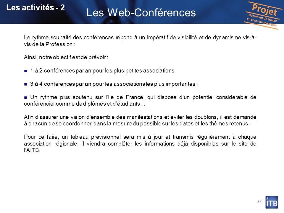 38 Les activités - 2 Les Web-Conférences Le rythme souhaité des conférences répond à un impératif de visibilité et de dynamisme vis-à- vis de la Profe
