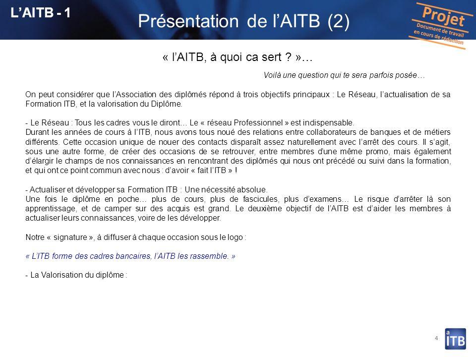4 LAITB - 1 « lAITB, à quoi ca sert ? »… Voilà une question qui te sera parfois posée… On peut considérer que lAssociation des diplômés répond à trois