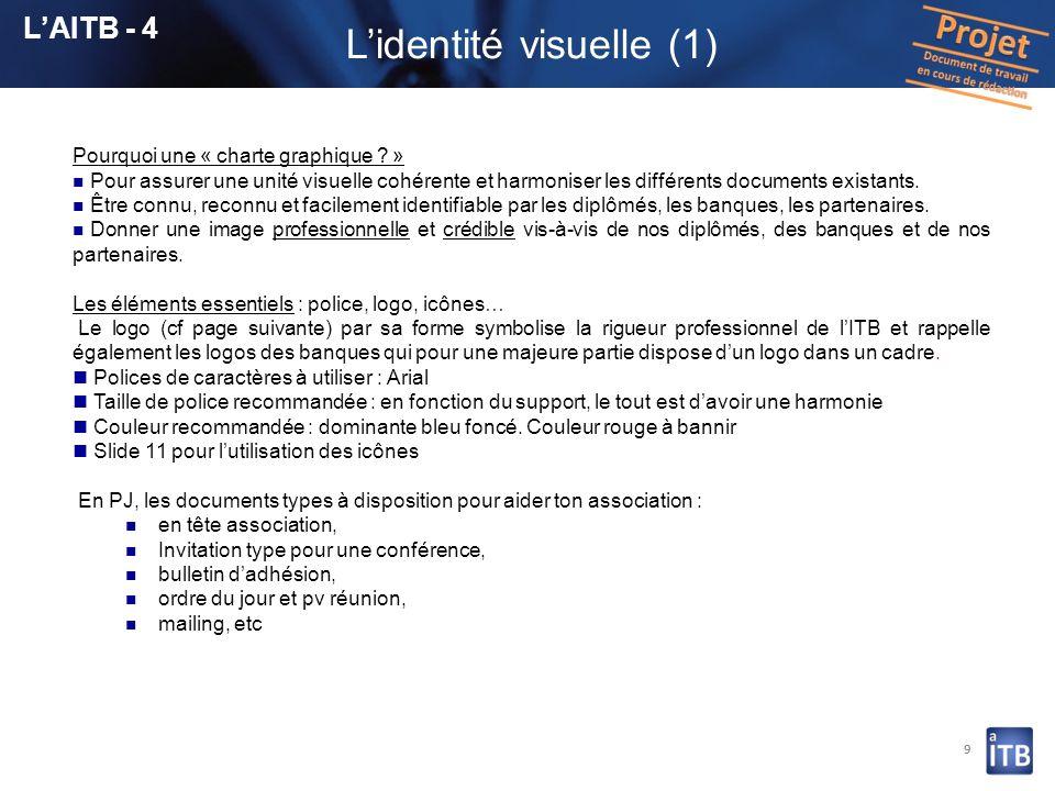 9 Lidentité visuelle (1) Pourquoi une « charte graphique ? » Pour assurer une unité visuelle cohérente et harmoniser les différents documents existant