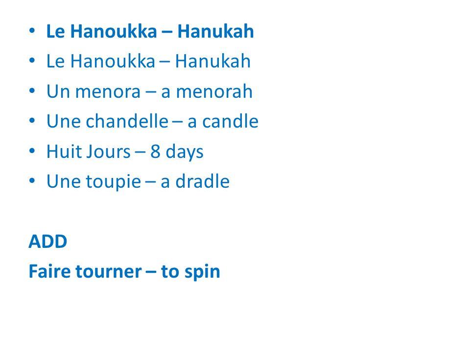 Le Hanoukka – Hanukah Un menora – a menorah Une chandelle – a candle Huit Jours – 8 days Une toupie – a dradle ADD Faire tourner – to spin