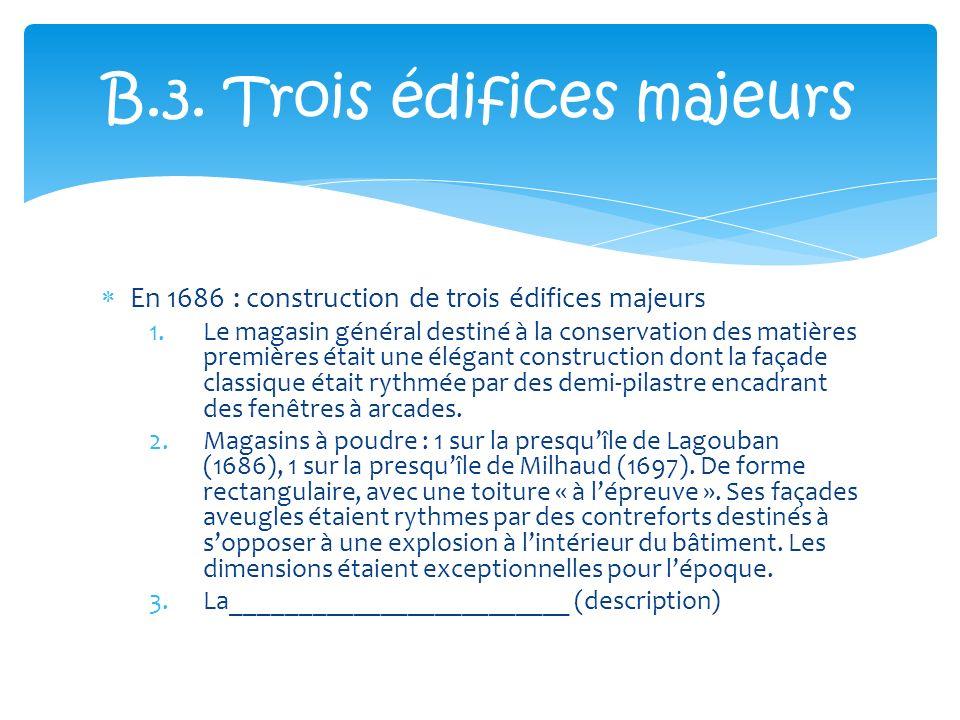 En 1686 : construction de trois édifices majeurs 1.Le magasin général destiné à la conservation des matières premières était une élégant construction