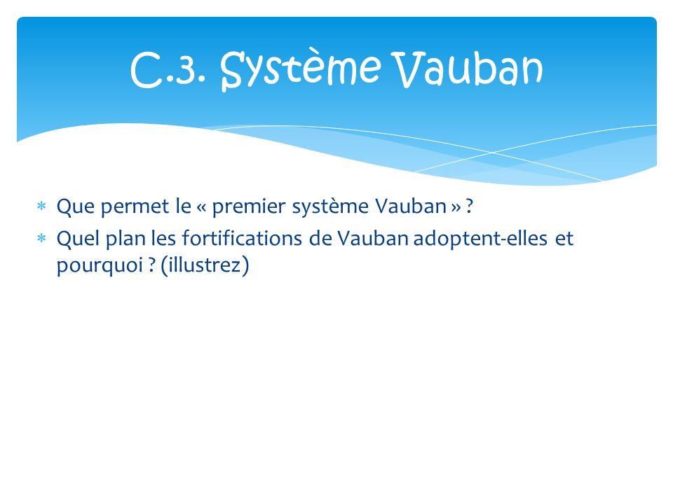 Que permet le « premier système Vauban » ? Quel plan les fortifications de Vauban adoptent-elles et pourquoi ? (illustrez) C.3. Système Vauban