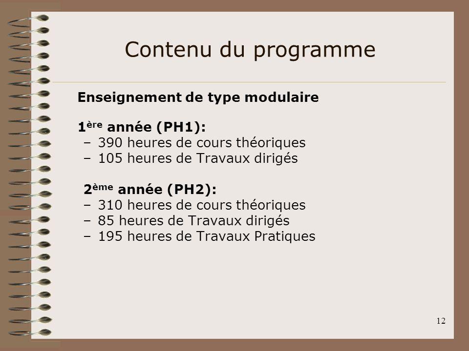 12 Contenu du programme Enseignement de type modulaire 1 ère année (PH1): –390 heures de cours théoriques –105 heures de Travaux dirigés 2 ème année (